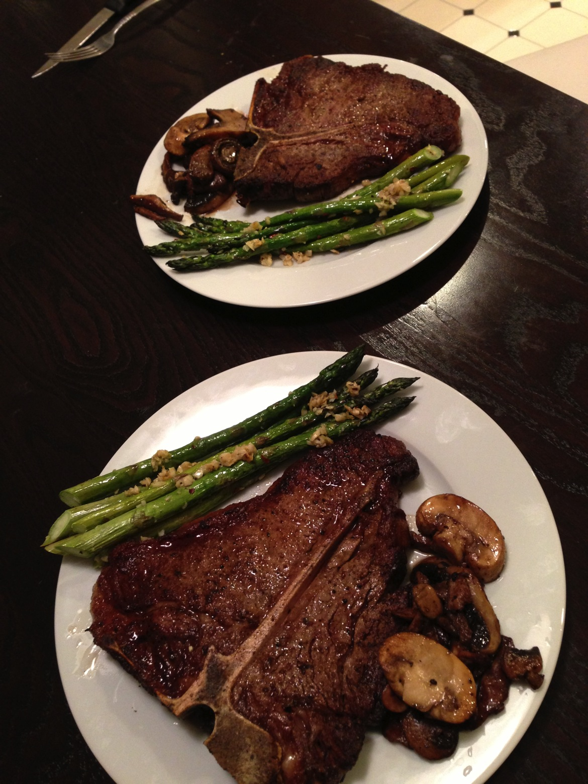 Might have to get some bigger plates. My first time cooking a t-bone steak on a cast iron. & T-Bone Steak Dinner | jeffé